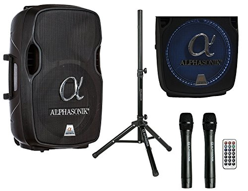 Alphasonik 12' Portable Rechargeable Battery Powered 1200W PRO DJ Amplified Loud Speaker with 2 Wireless Microphones Echo Bluetooth USB SD Card AUX MP3 FM Radio PA System LED Ring Karaoke Tripod Stand
