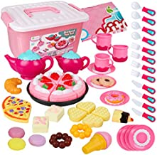 D-FantiX Tea Party Set for Little Girls, 52Pcs Kids Pretend Play Princess Tea Set for Toddlers Play Food Toy Tea Playset Accessories, Contains Plastic Teapots Teacups Cookies Cakes Donuts