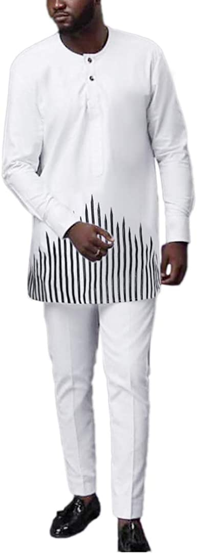 Ropa africana HD para hombre bordado Dashiki camisas y pantalones a juego 2 piezas traje - Blanco - XXX-Large