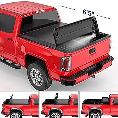 MOSTPLUS Quad Fold Soft Truck Bed Tonneau Cover Compatible for 2014-2019 Chevy Silverado GMC Sierra 1500/2015-2018 Silverado Sierra 2500 3500 HD 6.5/6.6 FT Bed Fleetside On Top