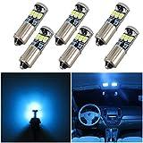WLJH Éclairage de voiture super lumineux bleu glacier 400 lm 2835 8-SMD BA9 BA9S 53 57 1895 64111 Ampoule LED 12 V pour porte latérale de voiture