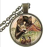 Kette Katze Musik Schmuck Vogel Halskette, Glas Dome Anhänger, Kitty spielt Geige Animal Halskette, handgefertigt Schmuck Geschenk