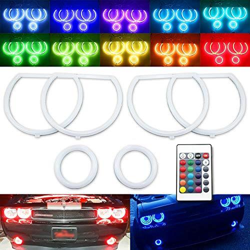 6pc RGB Cotton LED Angel Eyes Halo Ring Demon Eye Kit For Dodge Challenger Headlight Fog Light