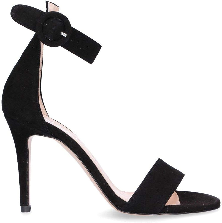 DI LUNA Women's 2386BLACK Black Suede Sandals