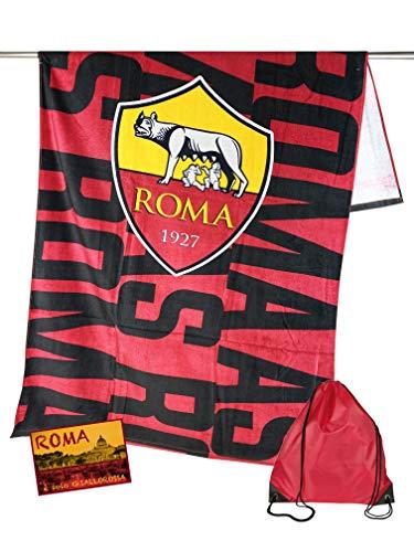 Tex family Telo Mare Sport Roma Misura Grande CM. 90 X 170 Originale A.S. Roma con Zaino TEXFAMILY e Cartolina Roma È Solo