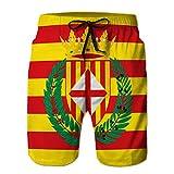 Yuerb Men Summer Swim Trunks Transpirables Shorts de Playa Bandera de Barcelona es una Provincia de españa