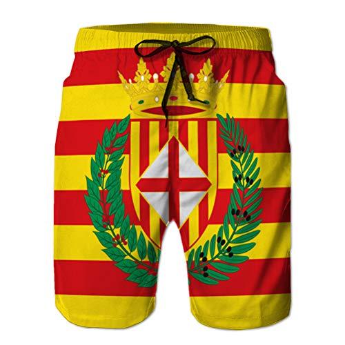 Yuerb Herren Beach Shorts Casual Classic Badehose Flagge von Barcelona ist eine Provinz von