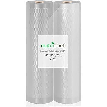 "NutriChef Premium (2) Vacuum Sealer Bags-8"" Wx50'L PKVS10BK, PKVS10WT, PKVS18SL, PKVS18BK, PKVS20STS, PKVS30STS, and Other Brands, One Size, 8""x50' Rolls (2-Pack)"