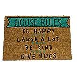 """koko doormats Zerbino ingresso casa """"House Rules"""" 60x40 cm, tappetino originale e divertente per ingresso in fibra di cocco e pvc, base antiscivolo, 40 x 60 cm"""