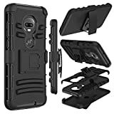 Motorola Moto G7 Case, Moto G7 Plus Case, Zenic Heavy Duty Shockproof Full-Body Protective Hybrid Case with Swivel Belt Clip and Kickstand for Moto G (7th Generation) (Black)