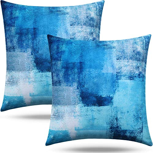 Jetec 2 Pieces Abstract Throw Pillow Covers with Hidden Zippers Turquoise Grey Cushion Case Soft Short Plush Home Decoration Pillow Cases for Room Bedroom Sofa Chair Car (18 x 18 Inches)