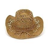 YDHWY Nuevo Sombrero de Panamá para Hombre, Sombrero de Sol de Verano, Sombrero de Vaquero Occidental, Sombrero de Paja...