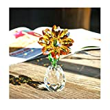 Qf Crystal Sunflower Figurine Table Crystal Flower Collectible Ornament Home Decoration Souvenir...