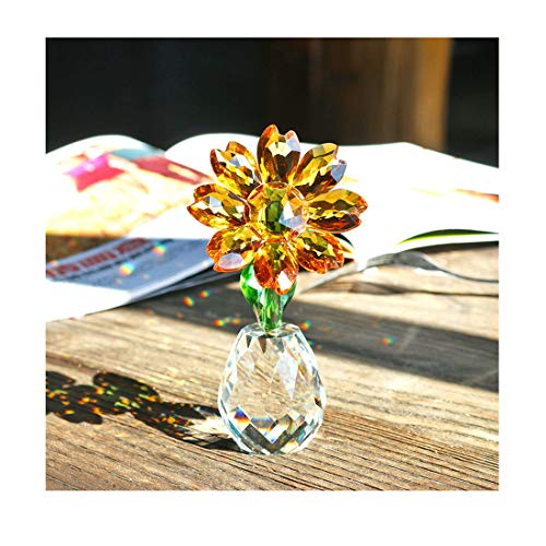 QF Crystal Sunflower Figurine Table Crystal Flower Collectible Ornament Home Decoration Souvenir Gifts (Sunflower)