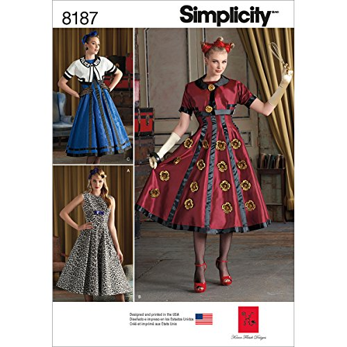Simplicity 8187 Dress and Cropped Jacket Halloween Costume Sewing Patterns for Women by Karen Fleish Designs in Sizes R5 (14-22)