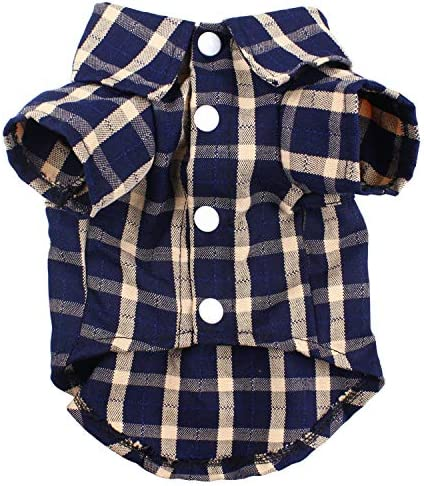 HOODDEAL Dog Shirts Blue Plaid Striped Pet Clothes Cute Breathable Cotton Polo Outfit Soft Casual product image