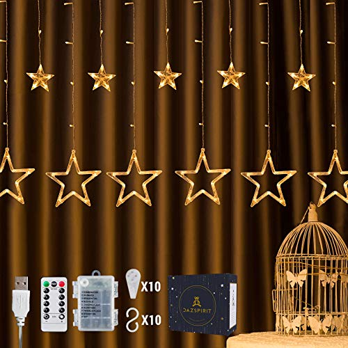 DazSpirit LED Lichtervorhang Weihnachten Sterne 2,5m mit 20 Haken und Fernbedienung, USB oder Batteriebetrieben, 8 Modi, Premium-Geschenkbox, Wasserdicht, Drinnen und Draußen (Warmweiß)