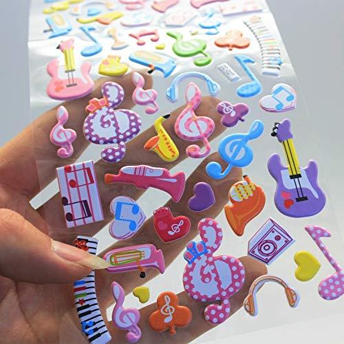 3 Blatt süße Musiknote Tagebuch Dekoration Kinder 3D Blase Aufkleber Scrapbooking Baby Geschenk Kinderspielzeug CC-027