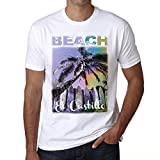El Castillo, Beach Palm, Camiseta para Las Hombres, Manga Corta, Cuello Redondo, Blanco