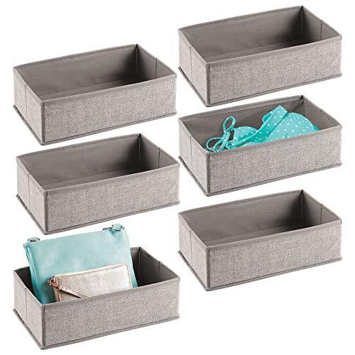 mDesign Juego de 6 cajas organizadoras de tela – Organizadores para cajones o armarios de polipropileno (pequeños) – Cestas de tela de múltiples usos – gris
