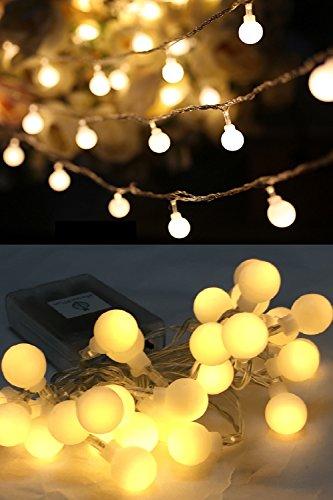 イルミネーション 間接照明 LED ストリングスライト ガーランドライト 点灯3パターン 電池式 防水球 30球 3m (ウォームホワイト)