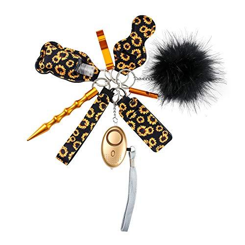 Tasmtto Self Defense Wristlet Keychain Set Women Hand Sanitizer Holder Keychain (Black Sunflower)