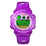 Watch for Girls Age 4-12, Purple Kids Digital Sports Waterproof Watches with Alarm Stopwatch, Children Outdoor Analog Electronic Watches Birthday Presents Gifts for Age 4-12 Year Old Boys Girls