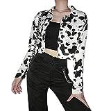 Fltaheroo Mujer Vaca Impresión Abrigos Para Las Mujeres De Estilo Coreano Casual Botón De Otoño Harajuku Streetwear Abrigo M