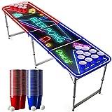 Offizieller Spotlight Beer Pong Tisch Set | Mit LED Beleuchtung | LED Beer Pong Full Pack | Inkl. 1 Beer Pong Tisch + 120 Becher 53cl (60 Rot & 60 Blau) + 6 Ping-Pong-Bälle | Premium Qualität