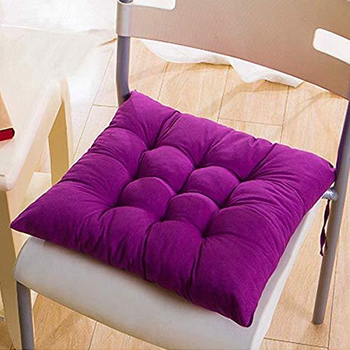 MGE Juego de 4 cojines para sillas de comedor, 40 x 40 cm, para uso en interiores y exteriores (color: morado)