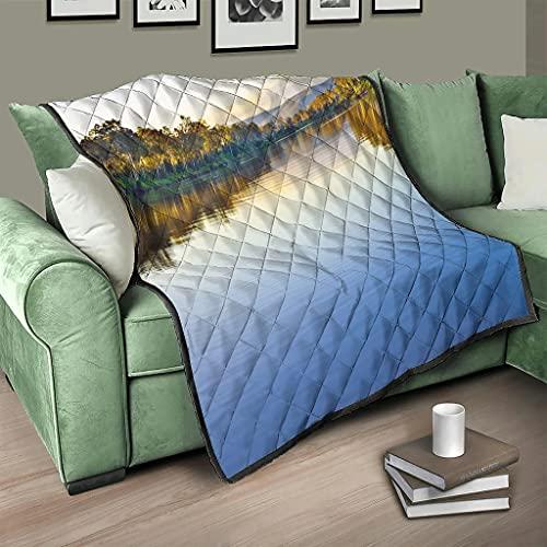 AXGM Colcha para el salón, diseño de árboles, lagos, agua, reflectante, 3D, 100 x 150 cm, color blanco