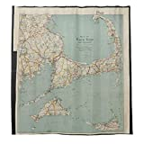 Duschvorhänge mit 12 Haken, Vintage-Stil, Landkarte von Cape Dorsch, Badezimmer-Vorhang 183 x 183 cm