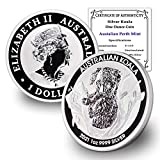 Purity: .9999 Fine Silver Metal Content: 1 Troy Ounce Diameter: 40.6 mm; Thickness: 4 mm Stock Photo; Image is indicative of quality You will receive one coin per purchase with a certificate of authenticity