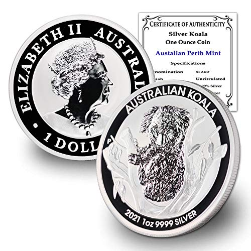 2021 AU Australian 1 oz Silver Koala Coin Brilliant Uncirculated with Certificate of Authenticity by CoinFolio $1 BU