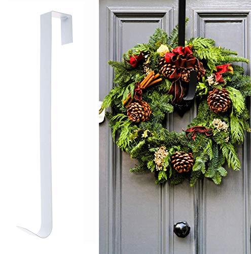 Türhaken für Weihnachtskränze 38cm Kranz Aufhänger Haken Türkranz Weihnachten Metall Handtuchhalter Türhänger Kleiderhaken Tür für Hängen Weihnachtskranz Dekoration Kleider Handtücher (Weiß)