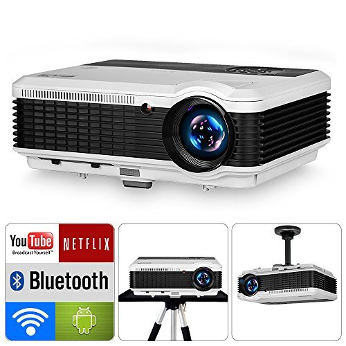EUG 4800 Lumen Home Wireless Projector with WiFi Bluetooth HDMI 1080P Smart Video Projectors Airplay Android TV Proyector for TV Stick DVD Player USB Driver PS4 Wii