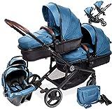 babyGO Kinderwagen 3 in 1 für Zwillinge - Geschwisterkinderwagen/Geschwisterwagen für Babys - Zwillingskinderwagen/Zwillingswagen für 2 Kinder mit viel Zubehör (Blau Melange-mit 2x Babyschale)