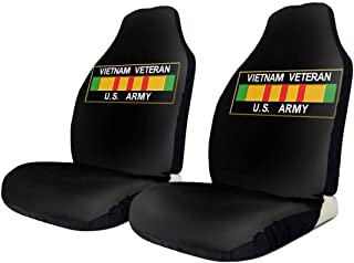 BYKLddljian Vietnam Veteran U.S. Army Universal 3D Printing Car Seat Cover Elastic Polyester Fabric Front Seat Covers Black for Cars SUV Truck