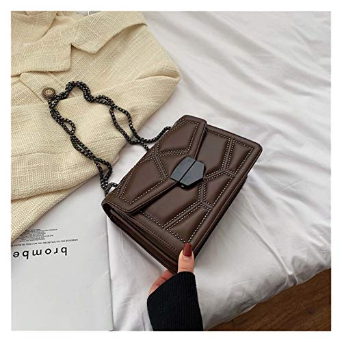 Moda Rivet Cadena de la Marca Diseñador de la Marca PU Cuero Crossbody Bolsas para Las Mujeres Simple Fashion Bag Bag Lady Luxury Pequeños Bolsos para Mujeres