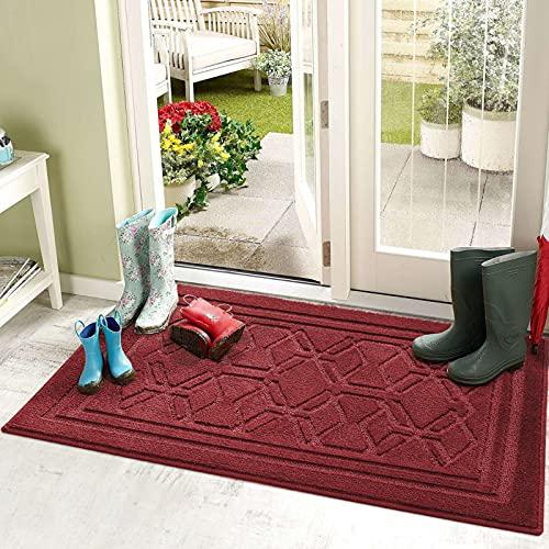 Felpudo Entrada Casa 50 x 80 cm Alfombra para Puertal Felpudos Atrapar Suciedad Interior y Exterior Alfombras Lavable Absorbente Rojo