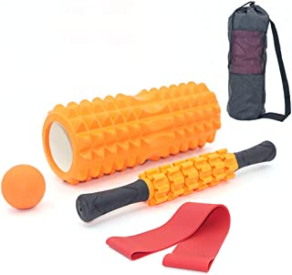 TopYoga 4PCS Set EVA Yoga Column Fitness Foam Roller Kit with Muscle Roller Stick and Massage Ball Resistance Band for Phy...