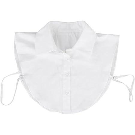 PIXNOR Falso Mezzo Camicia Camicetta Peterpan Collare Collare Staccabile Cravatta Unisex Bianco Donna
