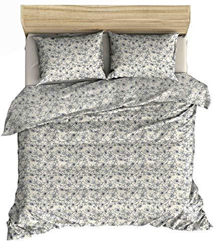 Lemur Textilien Vesta - Juego de funda nórdica de 140 x 200 cm y 1 funda de almohada de 65 x 65 cm, 100% algodón