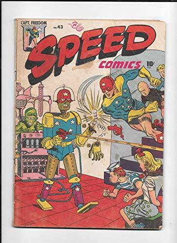 SPEED COMICS #43 == GD+ INSANE BONDAGE/ROBOT COVER HARVEY 1946
