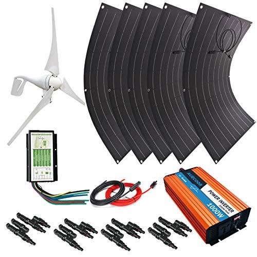 AUECOOR 800W Energía solar de viento: 4 x 100 W panel solar flexible + 1 unidad 12 V/24 V 400 W generador de turbina de viento + inversor de red de 1000 W + controlador híbrido + accesorios