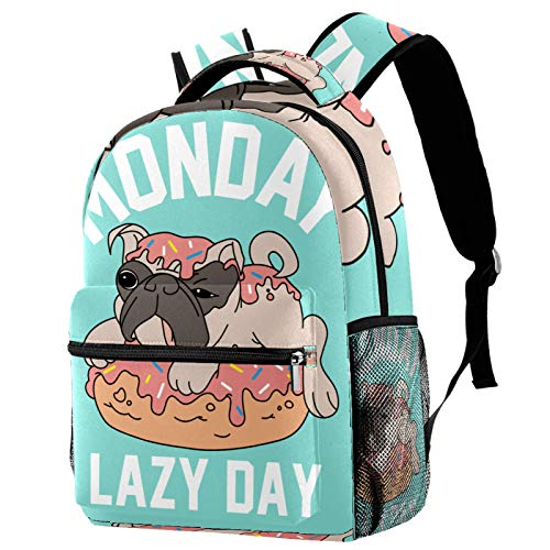 Backpack Lazy Dog Puppy Dount School Bag Rucksack Travel Casual Daypack for Women Teen Girls Boys