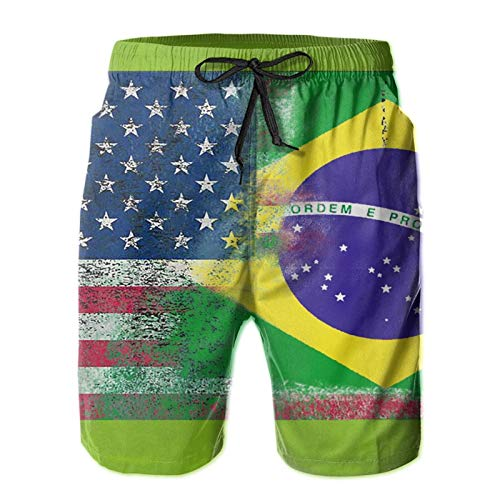 Kimisoy Beach Shorts for Men American and Brazilian Flags Casual Swim Trunks with Pockets Comfy Bathing Suits
