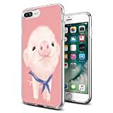 Funny Pink Flying Pig for iPhone Case for iPhone 7 Plus 8 Plus Cute Cases Protective Gifts for Girls Men Women Cover Shockproof Bumper Anti-Drop PC Frame for 5.5' Designer