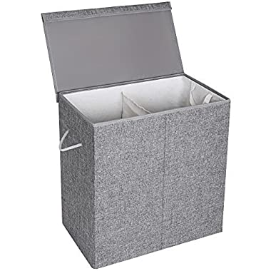 SONGMICS Fabric Double Laundry Hamper Separate Compartments Sorter 2 Sections Collapsible Clothes Storage Basket with Handles Detachable Lid and Liner Gray ULCB02G