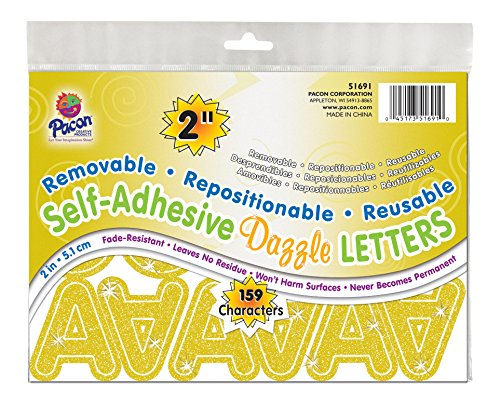 """Pacon 2"""" Self-Adhesive Uppercase Letters, 159-Count, Gold Dazzle (51691)"""